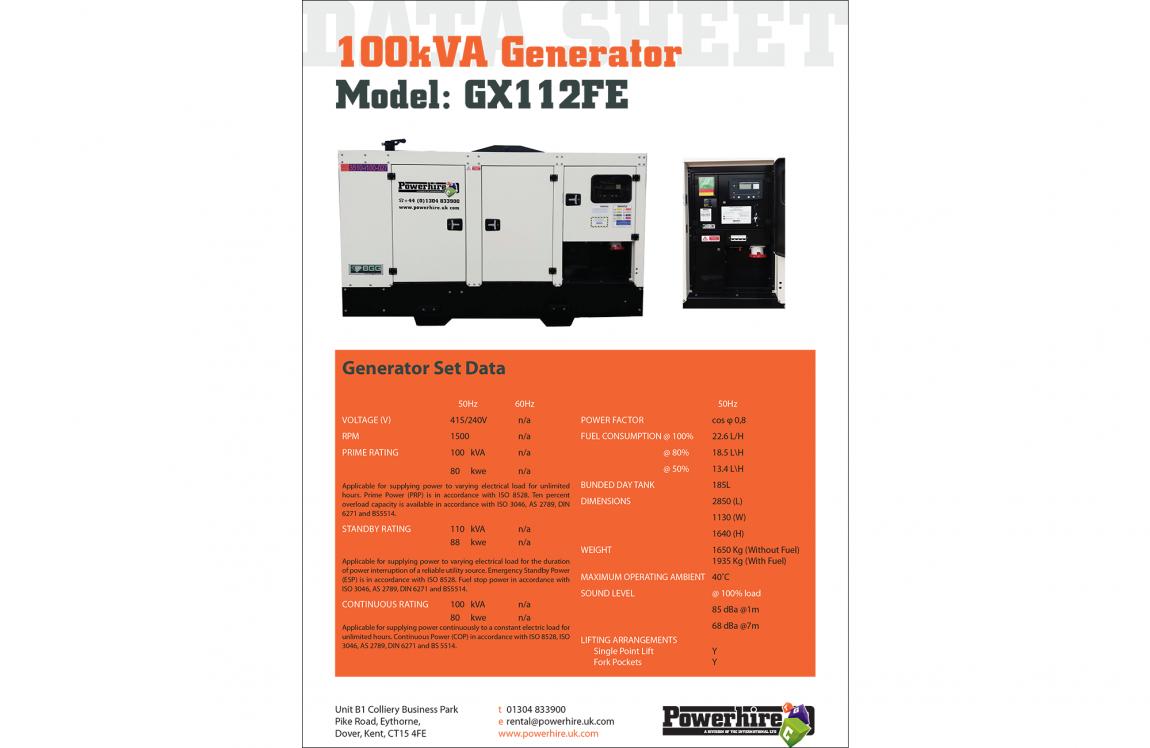 100kVA Generator Hire – [Bruno – Iveco Engine]